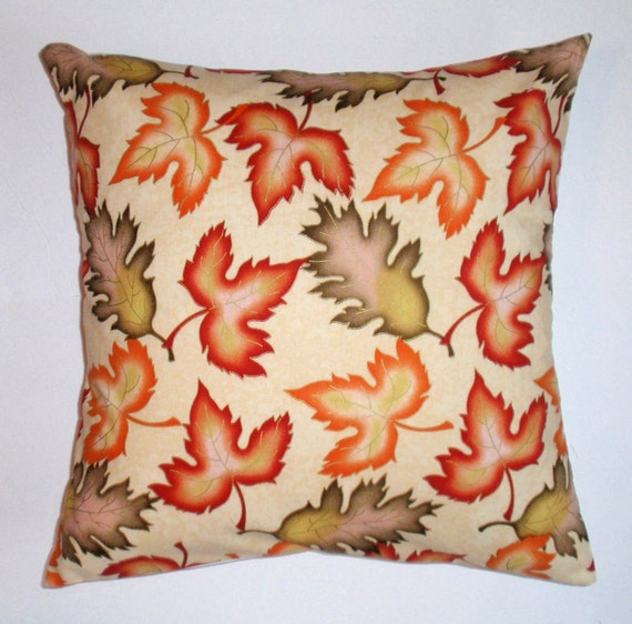 """Throw Pillow Cover, Autumn-Fall Leaves Throw Pillow Cover, Seasonal Accent Pillow Cover, Harvest Leaves Toss Pillow Cover, 16x16"""" Square"""