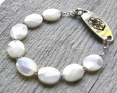 Mother of Pearl Medical ID Bracelet, White or Ivory Alert Bracelet, Sterling Silver Clasp Replacement Bracelet
