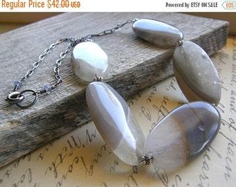 20% Off Grey Agate Statement Necklace, Large Gemstone Necklace, Quartz Necklace