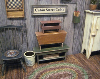 Miniature 3 Stacking Benches Country Primitive Dollhouse