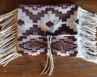 Upcycled Boho Brocade Cream Ethnic Southwest Print Horn Suede Tassel Fringe Purse Clutch