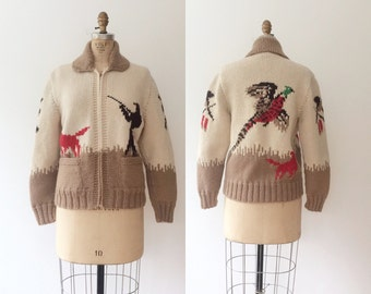 cowichan sweater / hand knit sweater jacket / Hunting Party sweater