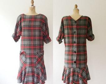 plaid vintage dress / plaid wool dress / Into the Woods dress