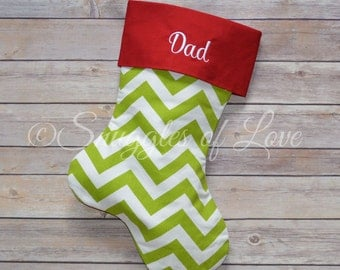 Green Chevron Stocking - Green Chevron Christmas Stocking - Green Chevron Personalized Christmas Stocking - Custom Made - EMBROIDERED
