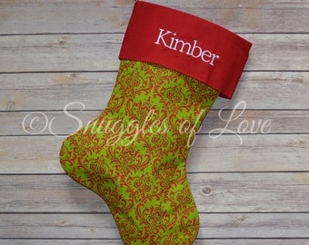 Red and Green Damask Christmas Stocking - Personalized Damask Stocking, Monogrammed Damask Christmas Stocking, Red and Green Stockings