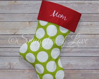Green Embroidered Polka Dot Christmas Stocking - Green Dot Stocking - Personalized Polka Dot Stockings - EMBROIDERY - Red and Green