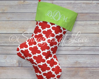 Red Quatrefoil Stocking, Personalized Quatrefoil Christmas Stocking, EMBROIDERED Red Christmas Stocking, Red and Green Stockings
