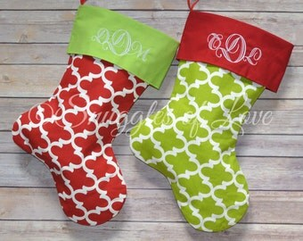 Christmas Stockings - SET OF 2 STOCKINGS - Personalized Christmas Stockings - Red and Green Stockings - Embroidered Stocking Set