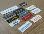 150 pieces Custom Letters only Taffeta Clothing Woven Labels free font styles colors never fade - professional quality no setup fee