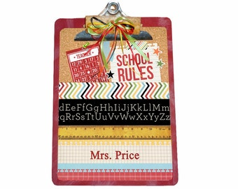 Teacher Gift Personalized Clipboard School Rules