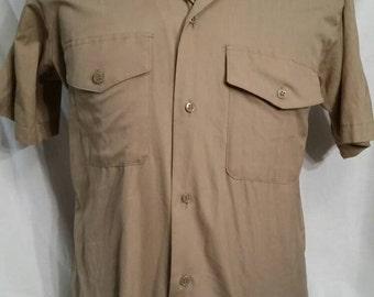 Mens vintage military tan button up shirt, slim fit