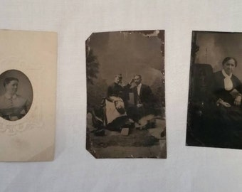 Three antique tin type photographs. 1860s-1890s.