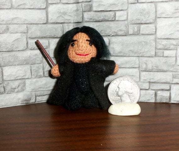 Severus Snape Miniature Crocheted Doll  Ready to Ship