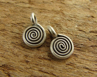 Itty Bitty Little Hill Tribe Fine Silver Spiral Charms - 2 Pieces - chtfsibls