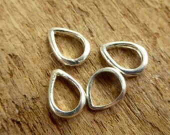 Sterling Silver Tiny Teardrop Links - Four Pieces - Sterling Bail - lttdb