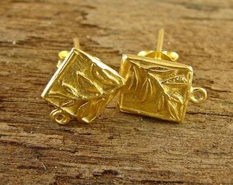 Tiny Fern Square 24K Gold Vermeil Posts - One Pair - ptfsv