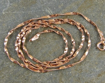 Rose Gold Vermeil 1.9 MM Twisted Chain - Helix Chain - 18 Inch With Clasp - One Piece - tcrgv18
