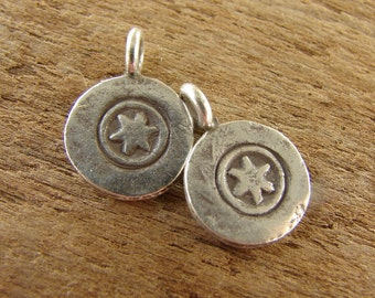 Tiny Star On A Disk Charms - Hill Tribe Fine Silver - httsd