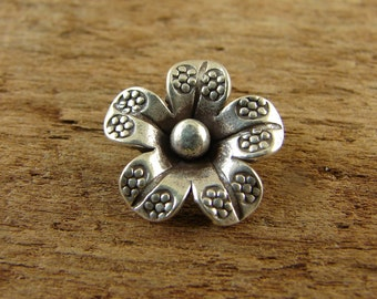 Hill Tribe Fine Silver Flower Charm or Petite Pendant - htff