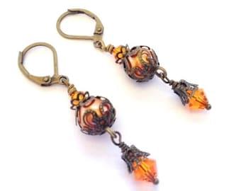 Vintage Crystal Earring, Antique Brass Filigree Earring, Fall Earring, Burnt Orange Pearl, Art Nouveau, Vintage Wedding, Orange Crystal,Gift