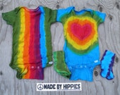 Baby Pack #13: Rainbow Stripes and Hearts Baby Set (2 Gerber 18 months Onesies & 2 Sets Socks) (One of a Kind)