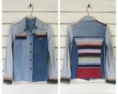 VINTAGE 70s denim + border stripe blanket shirt