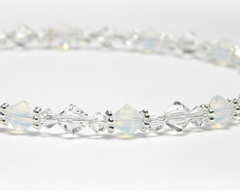 Anklet, Swarovski Crystal Anklet, Crystal Ankle Bracelet, Bridal Anklet, Wedding Anklet, Bridal Jewelry, Sterling Silver Anklet Adjustable