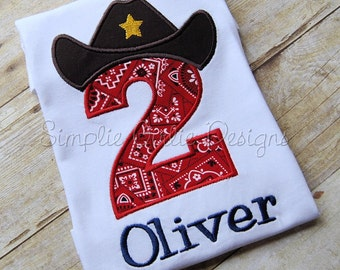 Custom western / cowboy birthday shirt. Personalized. Sizes 12m to youth L. Can change any colors/fabrics as desired!