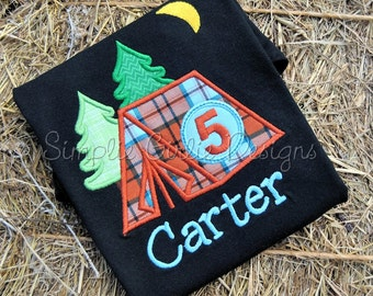 Custom camping birthday shirt. Sizes 12m to youth medium. Other sizes and fabrics available.