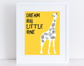 "giraffe fingerprint guest book for baby shower or birthday 10x8"" print - zoo animal safari themed nursery art yellow saying dream big"