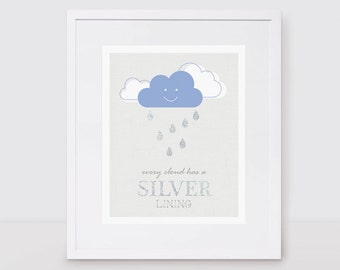 cloud silver lining - SPECIAL EDITION 10x8 print with hand painted silver glitter, kids nursery art, baby girl, baby boy, rain, makeforgood