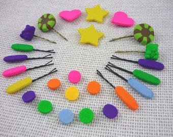 Vanellope von Schweetz Style Hair Candy Pins and Snaps - 25 pieces