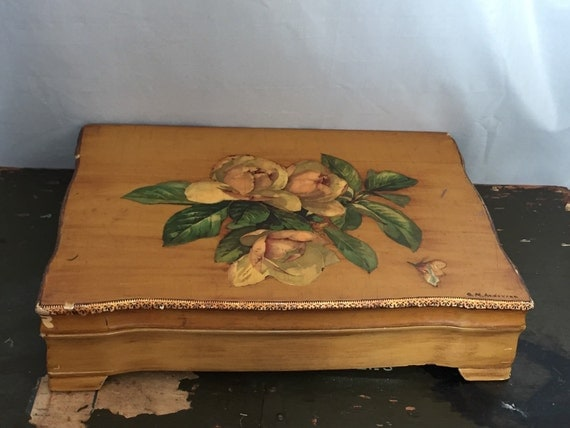 items similar to wooden box magnolia decoupage large