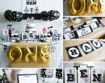 Robot Birthday, Robot Party, Robot Theme Party Kit, Black and White Robot Party