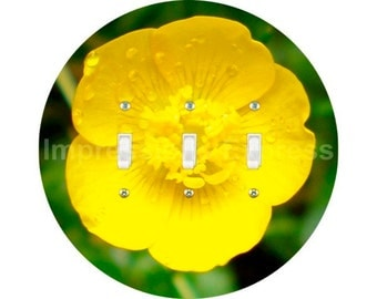 Buttercup Flower Triple Toggle Light Switch Plate Cover