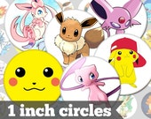 Pokemon Generations - 1 Inch Circles - 36 Unique Images - Digital Collage Sheet - Jewelry Supply, Cabochon, Bottle Caps - INSTANT DOWNLOAD