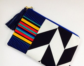 Black and White Clutch, Chevron and African Print Bag, Small Cosmetic Bag, Holiday Gift Guide, Woman's Fashion,