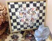 Checkerboard Framed Heart in Buttons