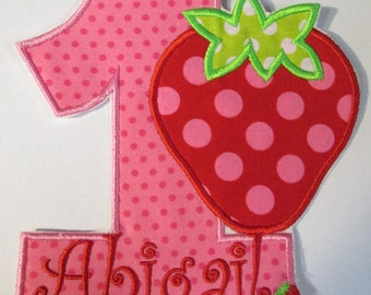 Strawberry  Birthday Number or Letter - Iron On or Sew On Embroidered Applique