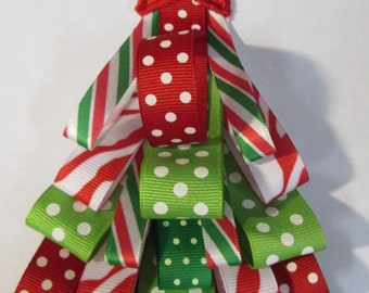 Iron On Applique -  Red and Green Ribbon Christmas Tree