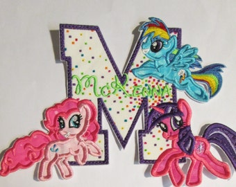 Pony Birthday Letter or Number - Iron On or Sew On Embroidered Applique
