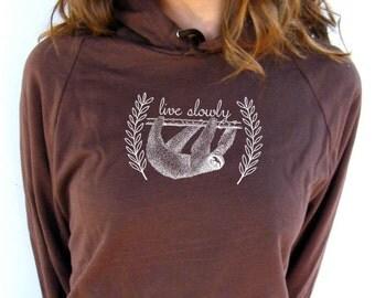 Womens Sloth Sweatshirt -  American Apparel California Fleece Pocket Pullover Hoodie - XS, Small, Medium, Large, XL, 2XL