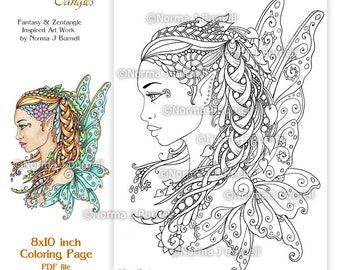 fairy tangles adult printable coloring pages by norma j burnell coloring book sheets fairies to color - Coloring Pages Dragons Fairies