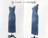 80s Bob Mackie Boutique Silk Gown XS / 1980s Vintage Beaded Mermaid Strapless Party Dress / Cocktails and Caviar Dress
