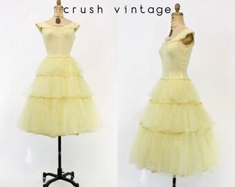 40s Dress  Yellow Chiffon XS / 1940s Vintage Tiered Party Dress / Lemon Frosting Dress