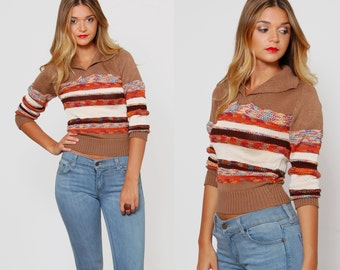 Vintage 70s SPACE DYE Sweater STRIPED Sweater Fitted Sweater V-Neck Knit Crop Pullover Jumper