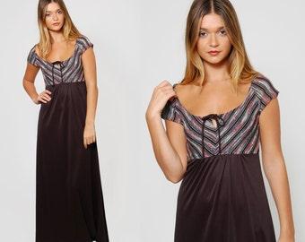 Vintage 70s CHEVRON Stripe Maxi Dress Empire Waist METALLIC Stripe Dress Black Evening Dress