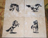 Equestrian Decor Natural Stone Coasters Horse Lover Equestrian Man Cave Absorbent Tile Coasters Housewarming Gifts Personalized Coasters
