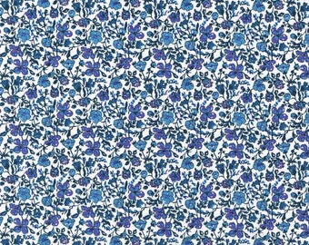 SALE Liberty of London Mini Meadow Blue POPLIN Fabric- Fat Quarter
