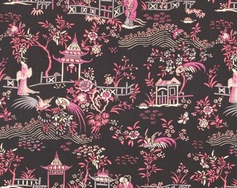 Liberty Fabric Autumn/Winter 2015 Peony Pavillion B Tana Lawn One Yard Black Pink Oriental